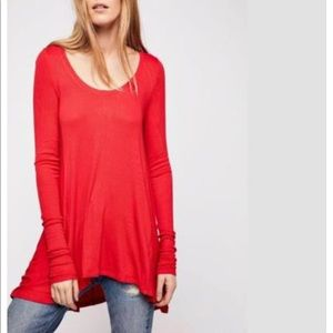 Red free people January long sleeve top